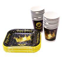 ظرف و لیوان ایرسا مدل Golden Crown بسته 20 عددی