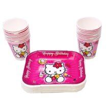 ظرف و لیوان ایرسا مدل Kitty بسته 20 عددی